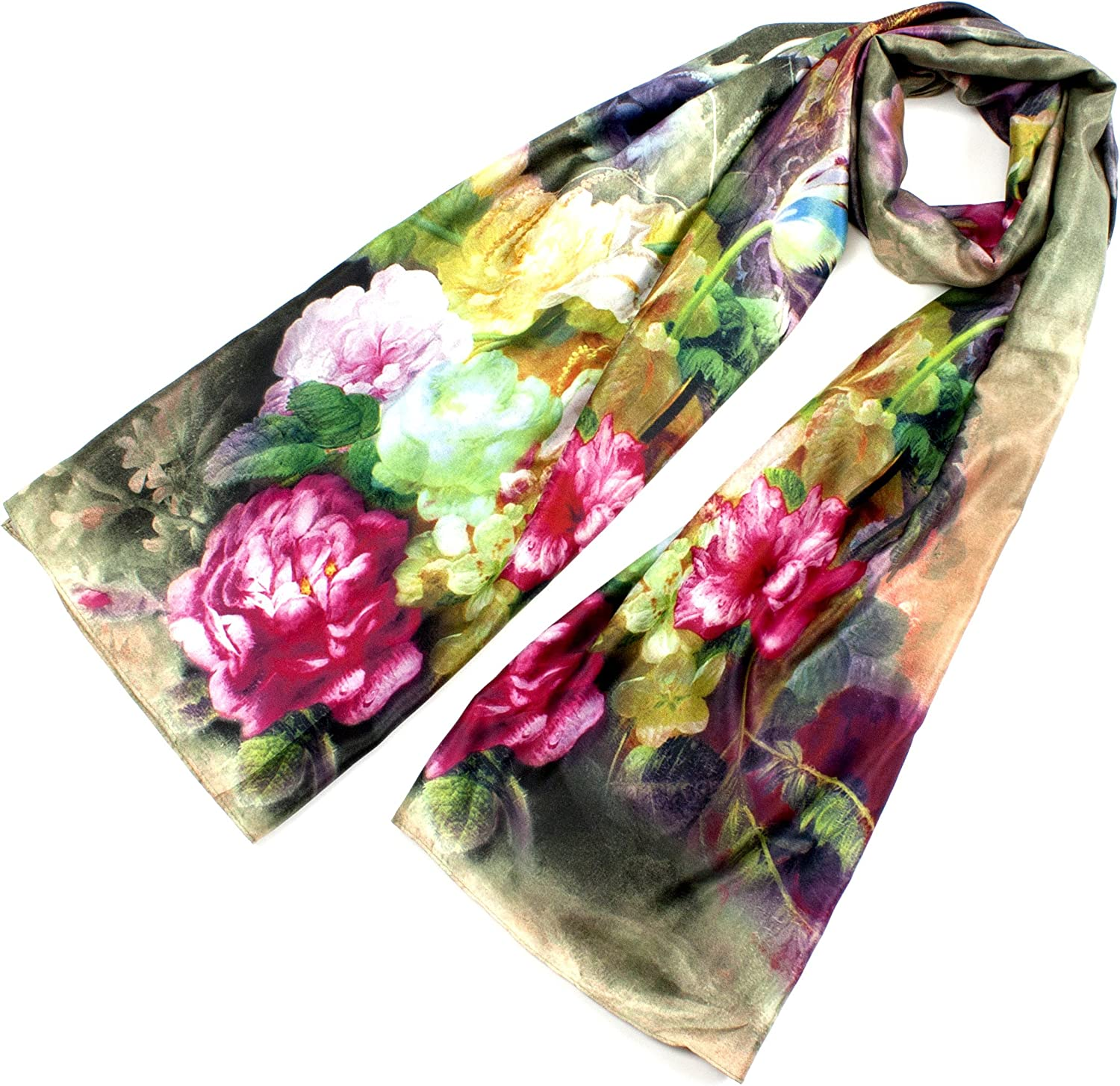 Leisureland Women's Silk Mixed Floral Design Fashion Scarf