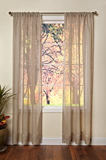 Cotton Craft - Genuine Pure 100% Linen Rod Pocket Window Panels - One Pair - Natural 54x96. Hand Crafted & Hand Stitched Sheer Linen panels - Generous 6 inch hem - Truly sophisticated luxury