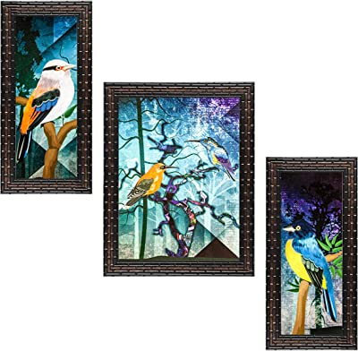 Indianara Set of 3 Pair of Sparrows Framed Art Painting (3589GB) without glass 6 X 13, 10.2 X 13, 6 X 13 INCH