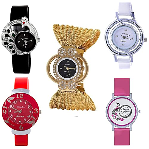 WatchBro Preet Collection Analog Multicolor Dial Women's Watch Combo(Set Of 5)