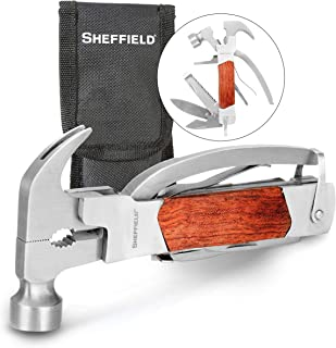 Sheffield 12913 Premium 14-in-1 Hammer Multi Tool, Multipurpose Tool for the Home, Camping Equipment, and Work, Hammer, Pl...