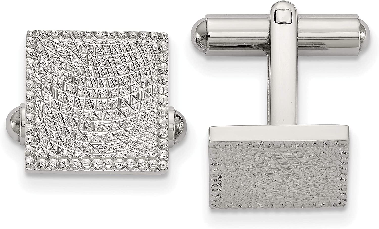 Stainless Steel Polished and Textured Square Cuff Links