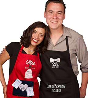 Mr Mrs Love Anniversary Gifts for Christmas Holidays - Year 2020 - Personalized apron - His and Her - Christmas Gifts Under 25 Dollars