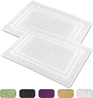 Talvania Cotton Banded Bath Mats, 100% Ring Spun Genuine Cotton - Highly Absorbent, Maximum Softness, Easy Care & Machine Washable Shower Bathroom Rugs Floor Towel 2 Pack (23 x 32Inch) (White)