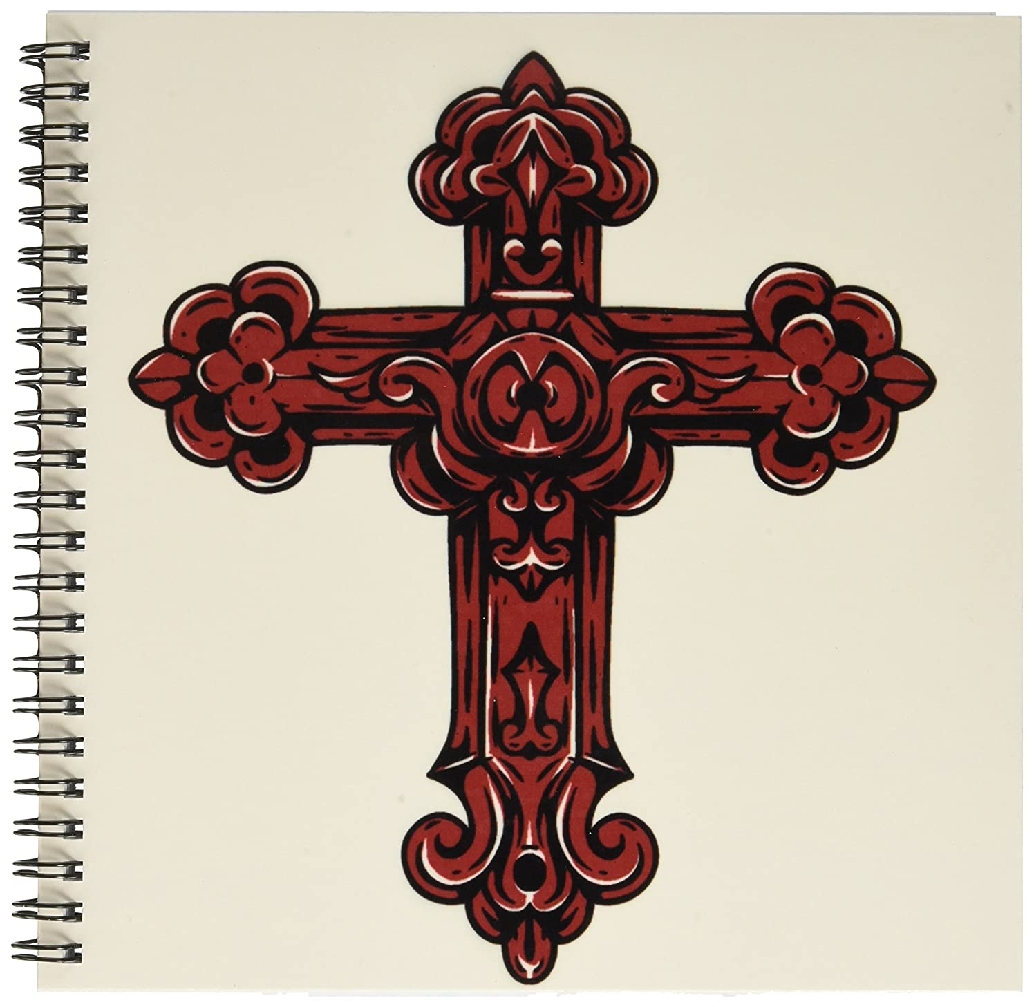 3dRose db_78346_1 Rose Colored Decorative Religious Cross Drawing Book, 8 by 8-Inch