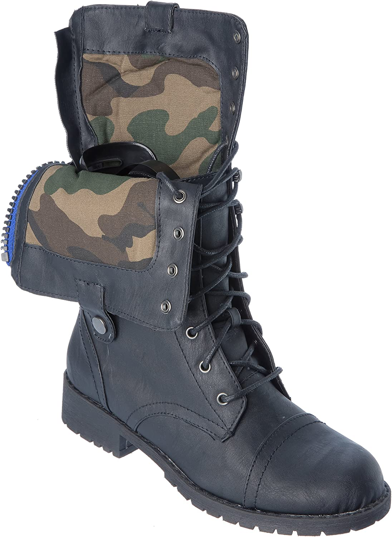 Nature Breeze lug28BlackGreen Womans Western Boots Modern Combat Fashion Moto Studded shoes