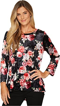 Nally & Millie - Rose Print Velvet Tunic