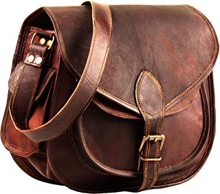 Leather Crossbody Purses Bags for Women | Small Vintage Look Leather Purses and Handbags for Women | Leather Satchel for Women | Diaper Bag for Ladies 11 Inch