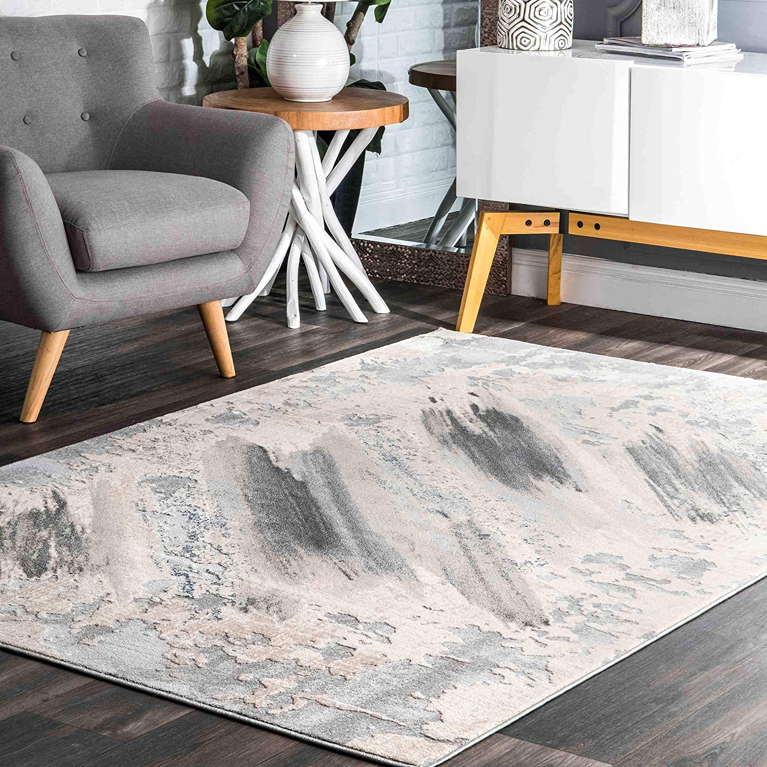 nuLOOM New York Mall Chroma Abstract Area Rug x Discount is also underway 9' Grey 6' 7