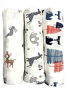 """Cotton Muslin Swaddle Blankets, Set of 3,""""My First Furry Friends"""" Perfect Baby Shower Baby Registry Gift"""
