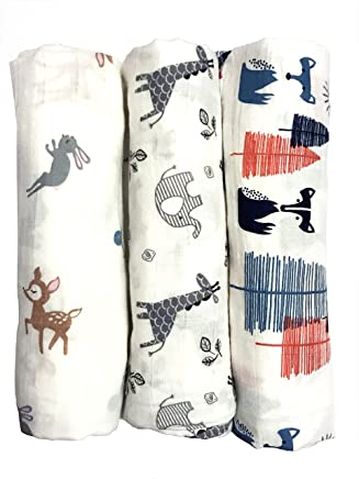Cotton Muslin Swaddle Blankets,  Set of 3,  My First Furry Friends Perfect Baby Shower Baby Registry Gift