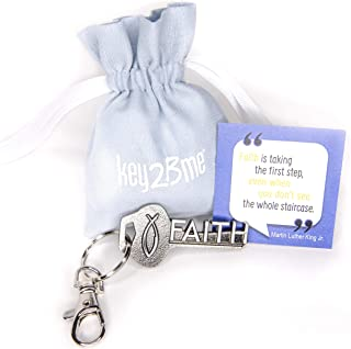 key2Bme Faith Key - Christian Fish MLK Keychain & Inspirational Quote - Cool Fun Small Gift Under $10 for Giving boy Girl Teen Women Catholic First Communion Reconciliation Confirmation