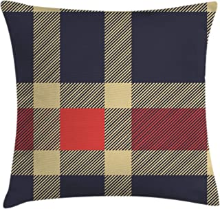 Ambesonne Checkered Throw Pillow Cushion Cover, Vintage Plaid Scottish Tartan Pattern with Retro Display Checks Lines, Decorative Square Accent Pillow Case, 24