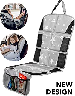 Car Seat Protector - Premium Carseat Auto Cover - For Baby & Infant Safety Seat as Kick Mat - Covers your Expensive Leather Seats with Thick Pad - Waterproof and Dirt Resistant - Cute Baby Star Design