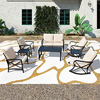 Patio Festival ® Cushioned Metal Outdoor Conversation Sets,8 PCs All Weather Padded Furniture Sectional Sofa Sets w/Loveseat,Rocking Chairs,Coffee Table for Yards,Gardens,Porches (8 PCS-1, Khaki)