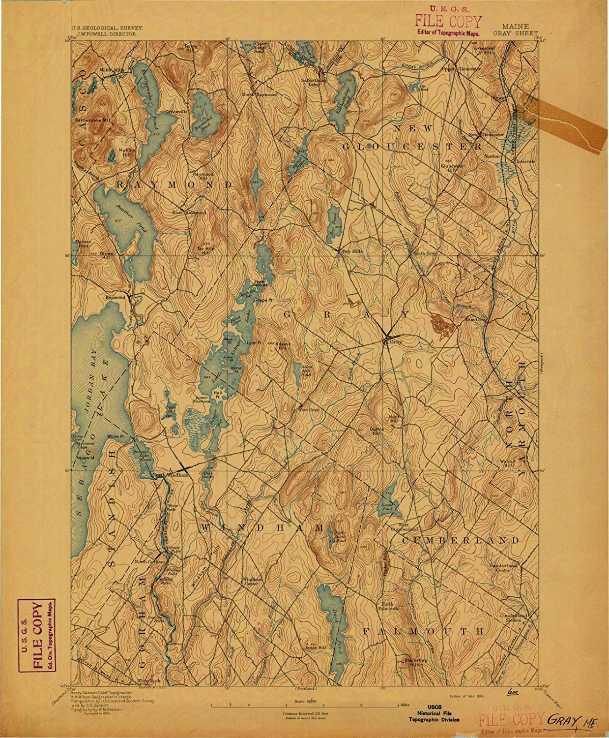 Maine Maps 1894 Gray Me Usgs Historical Topographic Wall Art 44in X 55in Posters Prints
