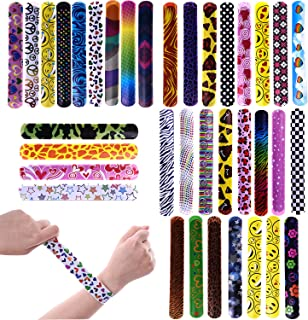 FUN LITTLE TOYS 72PCs Slap Bracelets for Party Favors Pack with Colorful Hearts Emoji Animal Print Design Retro Slap Bands for Kids Prizes, Kids Party Favors, Pinata Fillers