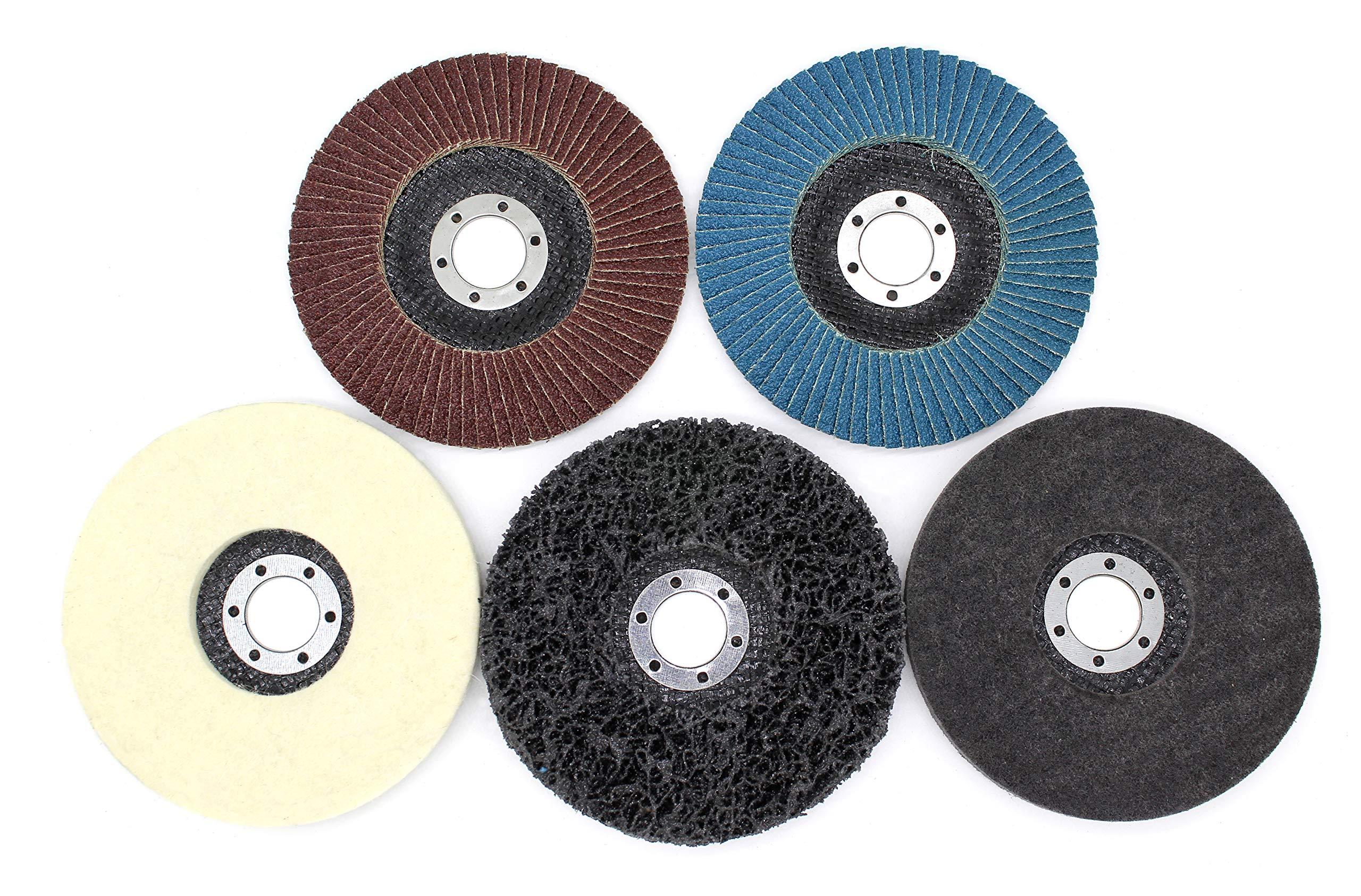 Juego de discos de abanico y pulido, 11 piezas, 115 mm , disco de ...