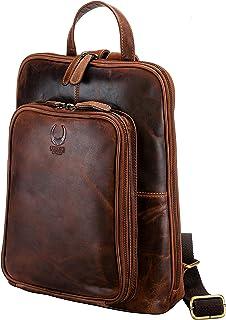 Corno d´Oro Mochila de piel para mujer con muchos compartimentos, mochila de piel para portátiles de 14 pulgadas, estilo v...