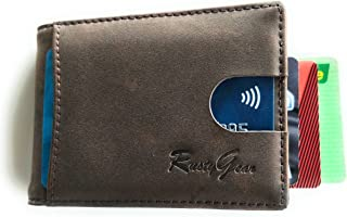 RUSTYGEAR Men's Wallet - Genuine Leather Wallet Slimline with RFID Protection & MoneyClip