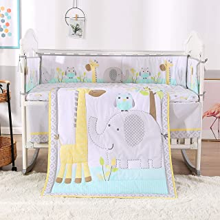 Wowelife Elephant Baby Crib Bedding Set Grey 7 Piece Elephant Owl and Giraffe Baby Nursery Crib Bedding(Grey Elephant-7 Piece)