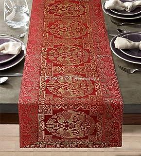 DK Homewares Ethnique Décoration De Maison Brocart Chemin De Table 60 X 16 Pouces Rouge Jacquard Rectangular 5 Pieds Nappe...