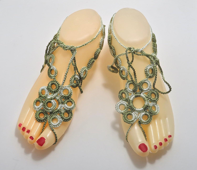 Austin Mall Virginia Beach Mall Handmade Variegated Green Bare-Foot Sandals