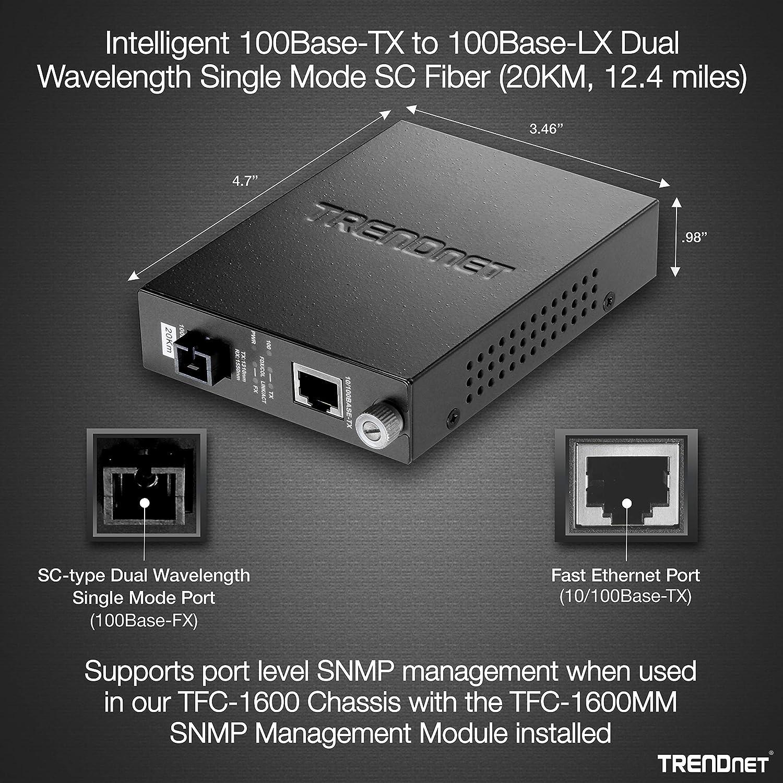 TRENDnet Intelligent 100Base-TX to 100Base-FX Dual Wavelength Single Mode SC Fiber Converter Lifetime Protection TFC-110S20D3i 20 km // 12.4 miles