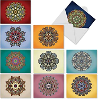 10 'Mandala Mania' Blank Note Cards with Envelopes 4 x 5.12 inch - Assortment of Boxed Greeting Cards with Colorful Mandala Designs for Baby, Wedding, Birthday - Stationery Set M3964