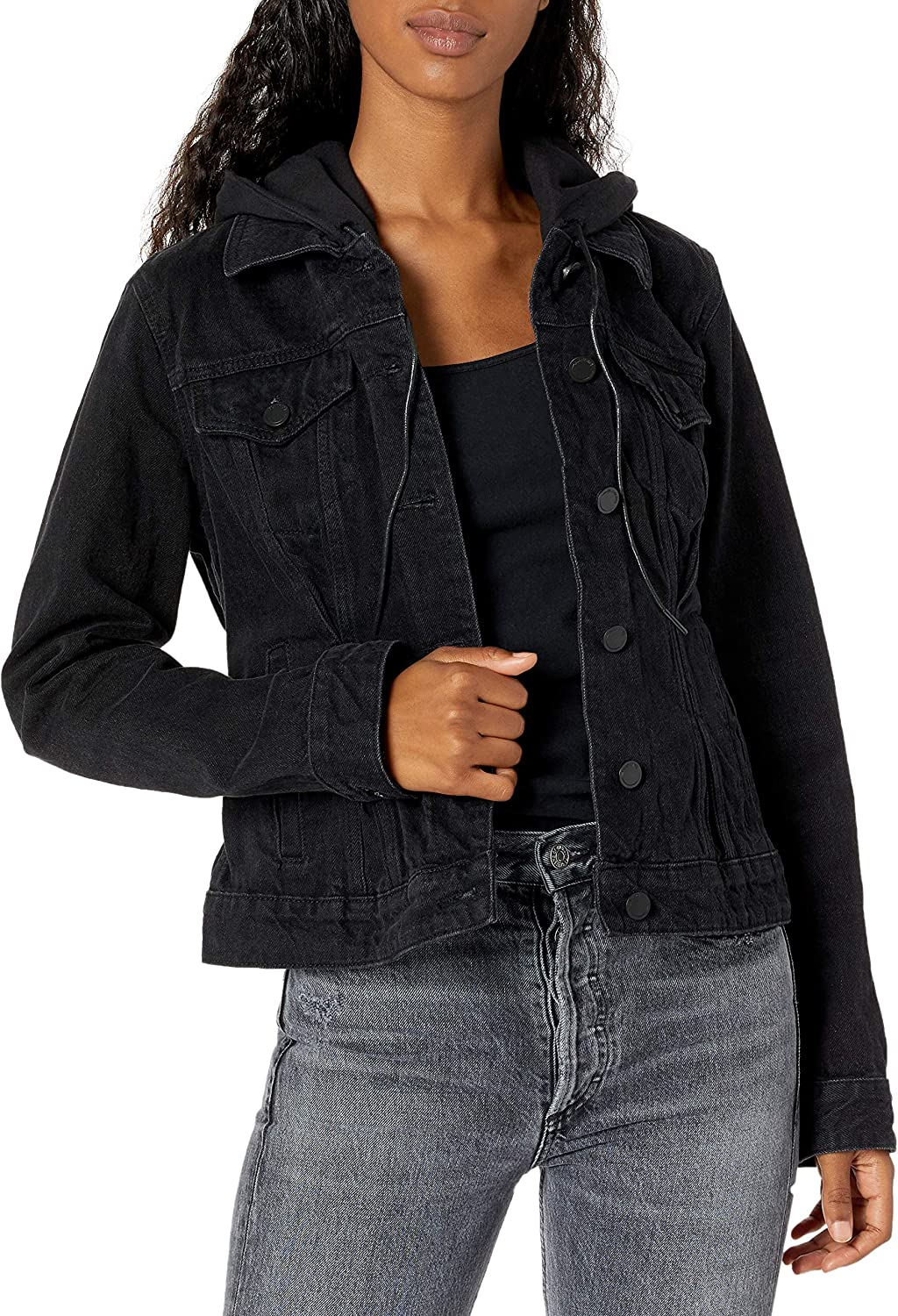 [BLANKNYC] womens Luxury Clothing Washed Out Black Denim Trucker Jacket With Removable Hood