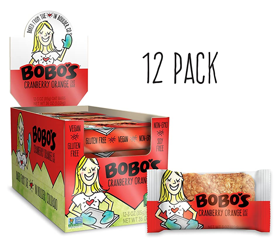 Bobo's Oat Bars (Cranberry Orange, 12 Pack of 3 oz Bars) Gluten Free Whole Grain Rolled Oat Bars - Great Tasting Vegan On-The-Go Snack, Made in the USA
