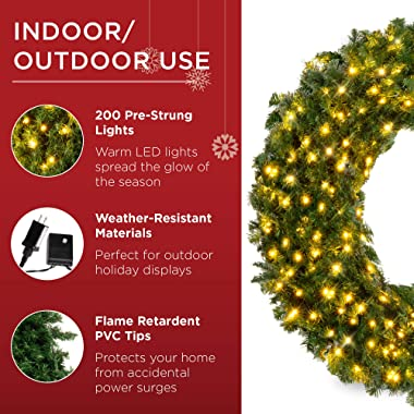 Best Choice Products 48in Large Artificial Pre-Lit Fir Christmas Wreath Holiday Accent Decoration for Door, Mantel w/ 200 LED