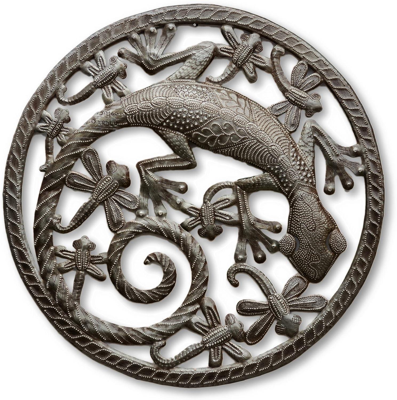 Gecko Chasing Dragonflies, Metal Art Haiti, Recycled Home Decor 17  X 17