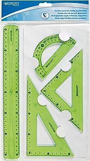 Westcott 1030200Règle flexible, 4pièces, plastique Lot de 3couleurs assorties