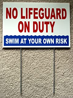 1Pc Bright Unique No Lifeguard On Duty Sign Risk Beach Plastic Printed Outdoor Declare Warning Post Pond Pool Rules Decor Poster Decal Keep Water Allowed Diving Danger Signs Size 8