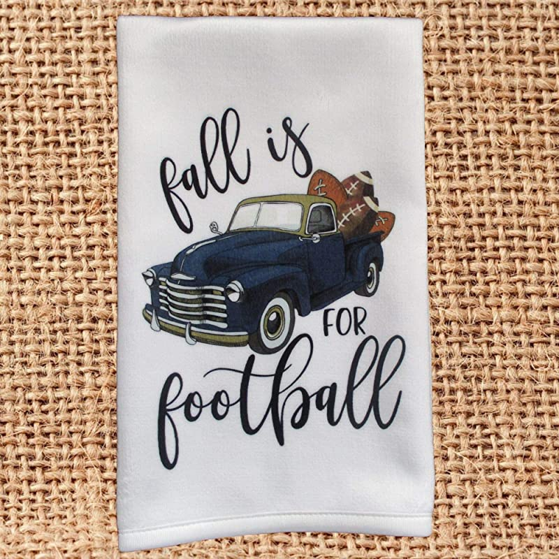 Fall Is For Football Old Vintage Blue And Gold Truck Hand Towel For Kitchen Or Bath Decor Housewarming Hostess Gift