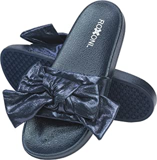 Roxoni Womens Bow Tie Sandal Open Toe Summer Slide Slipper -Great for Indoor/Outdoor
