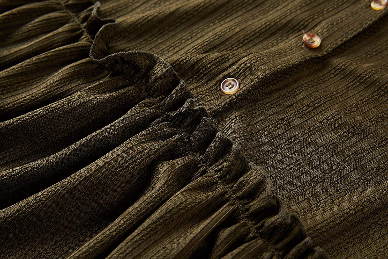 Laseily Women's V Neck Button Down Babydoll Tunic Tops Lantern Sleeve Ruffle Pleated Swing Blouse Shirts