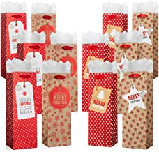 Holiday Wine Bottle Gift Bags with Tissue Paper - 12 Pack Bulk Variety Set - Includes 4 Cute Red and Gold Designs with Printed Gift Tags - Bottle Totes for Christmas Presents - by Haute Soiree
