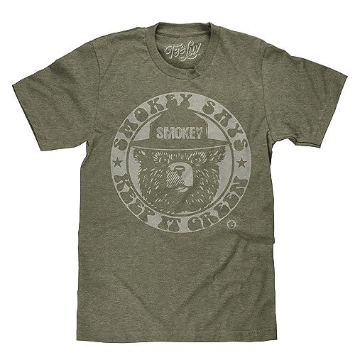 34fe134f Tee Luv Smokey Bear T-Shirt - Keep It Green Retro Smokey Bear Shirt