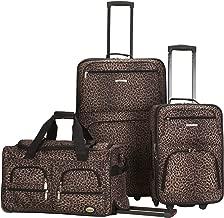 Rockland Luggage 3 Piece Printed Luggage Set, Leopard, Medium