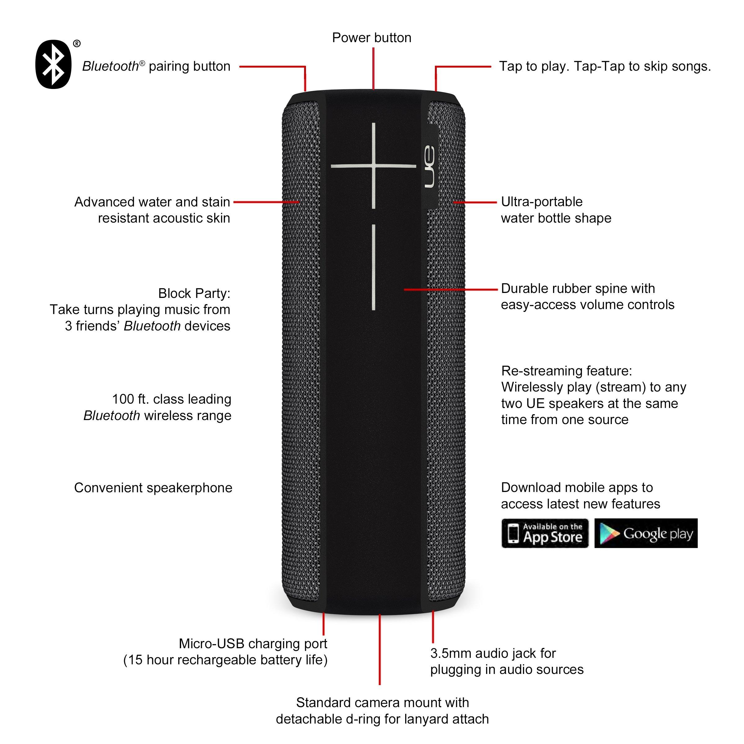 Logitech UE BOOM 2 Ultimate Ears Wireless Bluetooth Speaker Phantom Black
