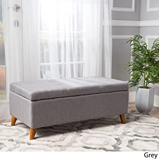 """Christopher Knight Home Living Katherine Grey Tufted Fabric Storage Ottoman, Dimensions: 19.25""""D x 38.00""""W x 16.25""""H"""