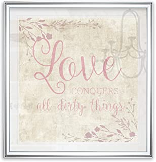 Renditions Gallery PF026-19641-1616SF Love Conquers Inspirational Art Quotes Wall Decor Painting Spiritual Floral Prints Fine Giclee Ready to Hang, 16 x 16, Silver