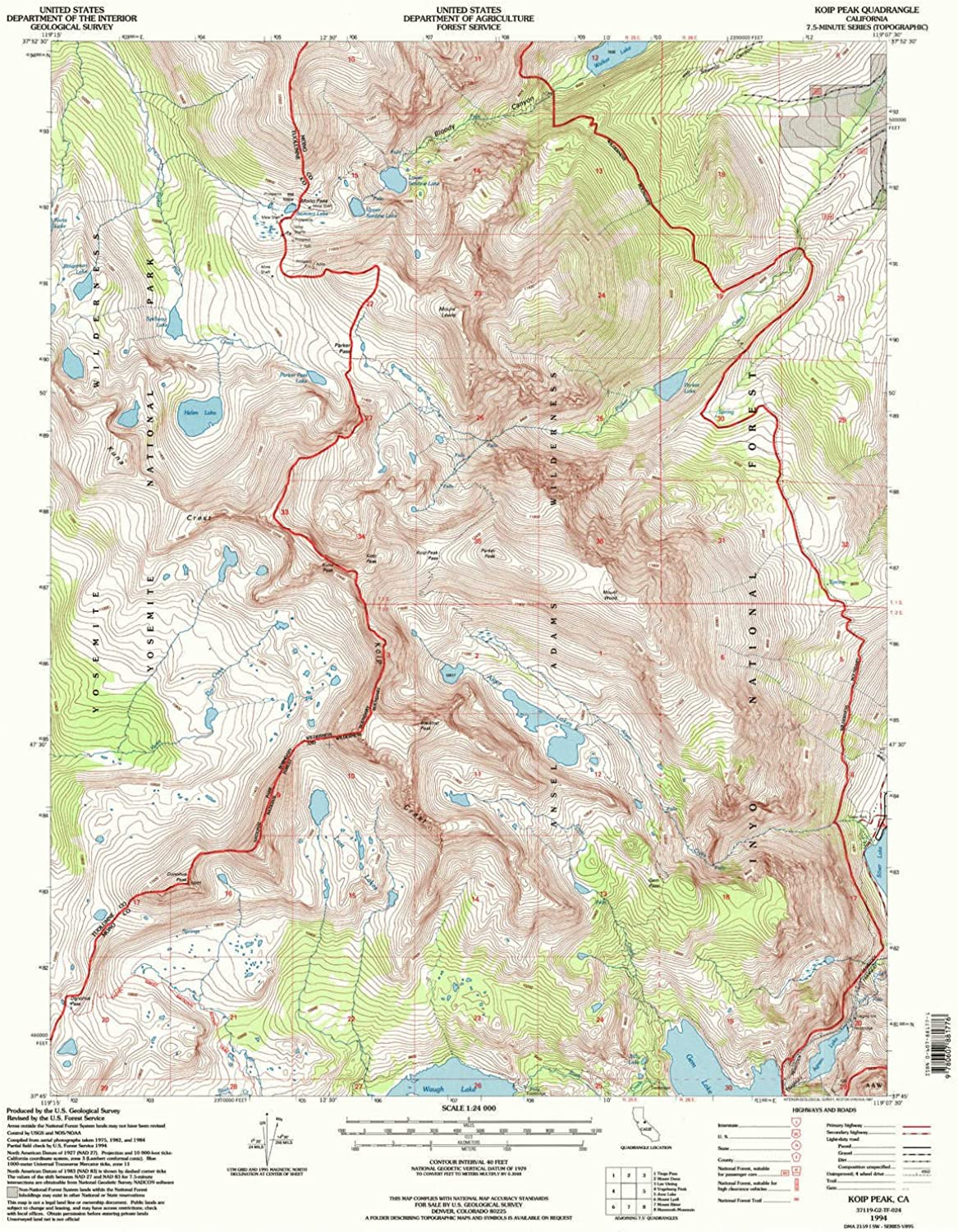 Koip Peak CA topo map, 1 24000 Scale, 7.5 X 7.5 Minute, Historical, 1994, Updated 1997, 26.7 x 21.4 in