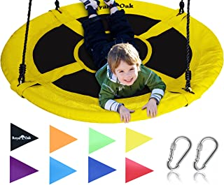 Best Royal Oak Saucer Tree Swing,Giant 40 Inches with Carabiners and Flags, 700 lb Weight Capacity, Steel Frame, Waterproof, Easy to Install with Step by Step Instructions, Non-Stop Fun! (Yellow) Review