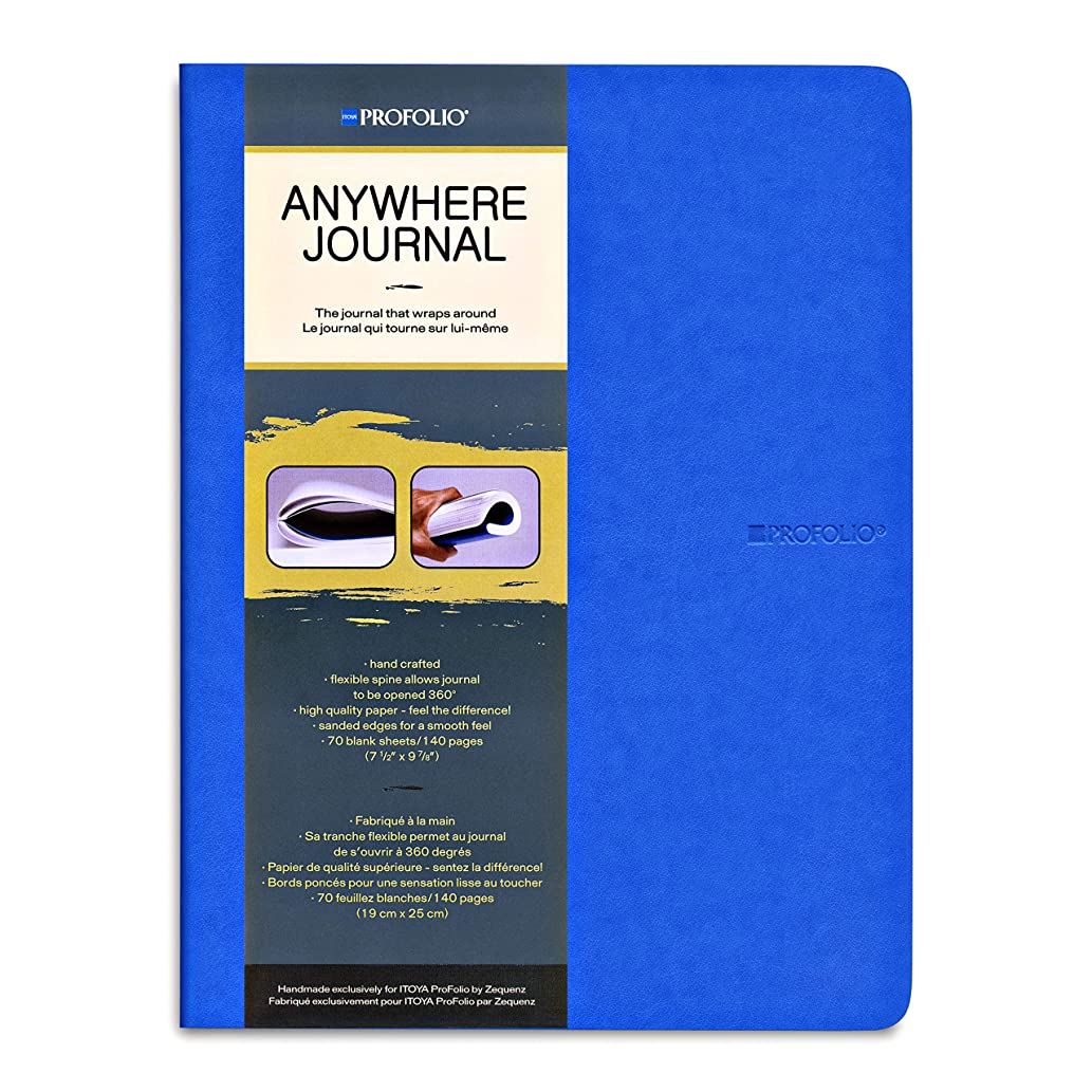 Itoya Anywhere Journal with Flexible Spine, 70 Blank Sheets/140 Pages, 7.5 X 9.9 inches, Blue (AJ-LG-BU)