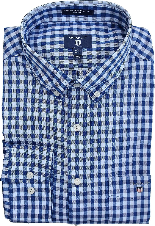 GANT 2ply 80s Check Shirt Camisa, Azul (Yale Blue), Large ...