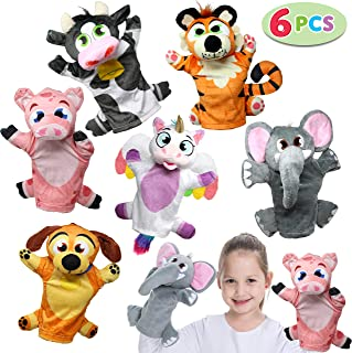 JOYIN Toy Animal Friends Deluxe Hand Puppets 6 Pack for Imaginative Play, Stocking, Birthday Party Favor Supplies, Girls, Boys, Kids and Toddler