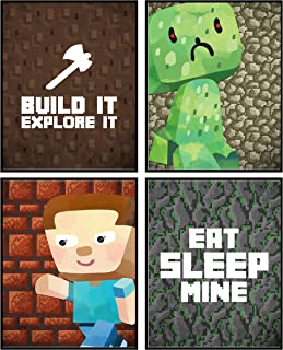 Silly Goose Gifts Pixel Miners Room Wall Art Prints Decor (Build It)